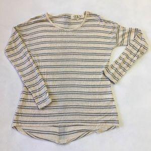 Pink Rose S long sleeve grey stripe zip back top